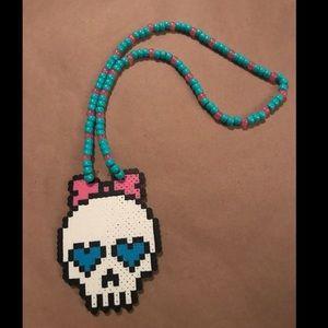 Adorable sugar skull beaded EDC festival neck
